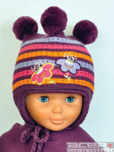 Purple beanie with pompoms
