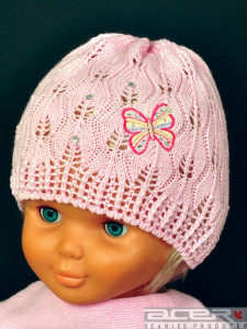 Knitted beanie with butterfly