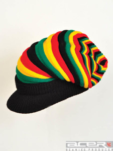 Reggae beanie with peak