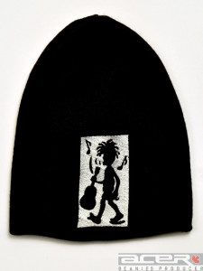 Beanie with music embroidery