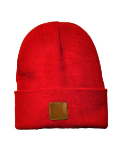 Beanie with leather patch