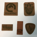Brown leather labels